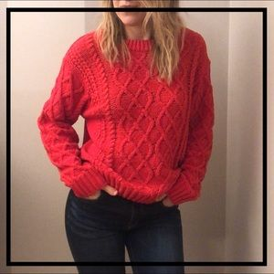 Beautiful Soft Red Cable Knit Sweater